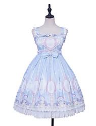 cheap -Sweet Lolita Princess Lolita Dress Female Japanese Cosplay Costumes Light Blue Stitching Lace Lace Sleeveless Sleeveless Knee Length