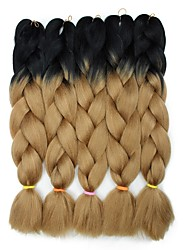 "cheap -Braiding Hair Curly Synthetic Extentions Synthetic Hair 5 Pieces Hair Braids Brown 24 inch 23 1/2""60 cm Synthetic Color Gradient Hot Sale Christmas Dailywear Daily Wear African Braids"