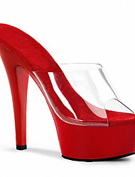 cheap -Women's Heels Jelly Sandals Stiletto Heel PVC(Polyvinyl chloride) Club Shoes Spring / Summer White / Black / Red / Wedding / Party & Evening / Party & Evening