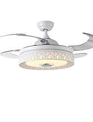 abordables -QINGMING® Ventilateur de plafond Lumière d'ambiance Finitions Peintes Métal LED, Contrôle Bluetooth 110-120V / 220-240V Bayadère