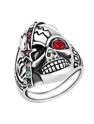 cheap -Men's Ring Onyx 1pc Silver Rhinestone Alloy Hyperbole Satanic Daily Street Jewelry Sculpture Mexican Sugar Skull Skull Calaveras