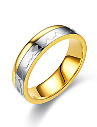 cheap -Couple's Ring spinning ring Groove Rings 1pc Gold Titanium Steel Circular Ladies Simple Classic Wedding Gift Jewelry Classic Two tone Heart Friendship Heart Lovely
