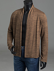 cheap -Men's Daily Solid Colored Long Sleeve Regular Cardigan Sweater Jumper, Shirt Collar Fall / Winter Light gray / Brown / Dark Gray