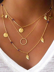 cheap -Women's Chain Necklace Layered Necklace Layered Leaf Ladies Punk Lolita Bohemian Fashion Rhinestone Alloy Gold 40 cm Necklace Jewelry 1pc For Party / Evening Masquerade