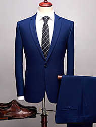 cheap -Solid Colored Standard Fit Spandex / Polyster Suit - Notch Single Breasted One-button / Suits