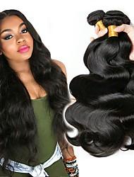 cheap -3 Bundles Brazilian Hair Body Wave Human Hair Natural Color Hair Weaves / Hair Bulk Hair Care Bundle Hair 8-28 inch Natural Color Human Hair Weaves Silky Smooth Extention Human Hair Extensions