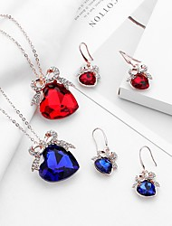 cheap -Women's Sapphire Crystal Drop Earrings Pendant Necklace Bridal Jewelry Sets Solitaire Heart Bowknot Ladies Trendy Sweet Fashion Rhinestone Earrings Jewelry Champagne / Red / Blue For Evening Party
