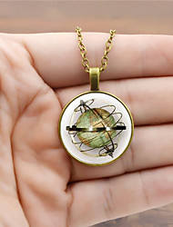 cheap -Women's Pendant Necklace Retro Ladies Vintage Steampunk Glass Alloy Black Gold Silver 45+5 cm Necklace Jewelry 1pc For Holiday Going out
