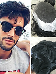 cheap -Men's Human Hair Toupees Wavy 100% Hand Tied / Lace Front Soft