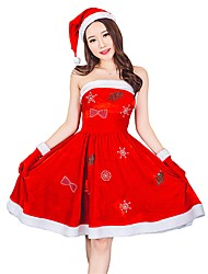 cheap -Santa Clothes Women's Adults Adults' Halloween Christmas Christmas Halloween Carnival Festival / Holiday Polyster Outfits Red Solid Colored Christmas