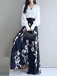 abordables -Femme Travail Grandes Tailles Chic de Rue / Sophistiqué Manche Gigot Ample Set - Couleur Pleine / Fleur / Tartan Taille haute Pantalon Coeur / Automne / Hiver / Sexy