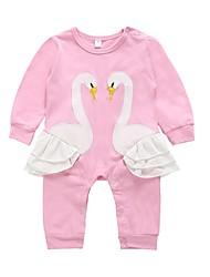 cheap -Baby Girls' Active / Basic Daily / Holiday Print Printing Long Sleeve Cotton Romper Blushing Pink