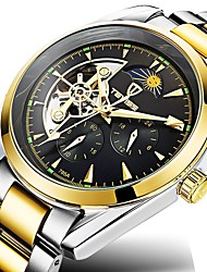 cheap -Men's Wrist Watch Japanese Automatic self-winding Stainless Steel Silver / Gold 30 m Water Resistant / Waterproof Chronograph Creative Analog Sparkle Skeleton - Silver / Black Gold / Silver / White