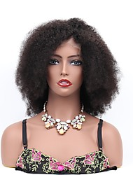cheap -Remy Human Hair Full Lace Lace Front Wig Asymmetrical style Brazilian Hair Kinky Curly Jerry Curl Black Wig 130% Density with Baby Hair Soft Classic Women Easy dressing Women's Medium Length Human