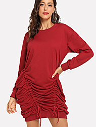 cheap -Women's Daily Elegant Shift Dress - Solid Colored Red M L XL
