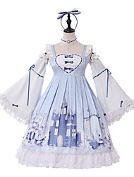 cheap -Sweet Lolita Princess Lolita Dress Girls' Female Chiffon Japanese Cosplay Costumes Light Blue Pattern Lace Butterfly Sleeve Long Sleeve Knee Length / Classic Lolita Dress