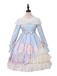 cheap -Sweet Lolita Princess Lolita Dress Female Japanese Cosplay Costumes Light Blue Animal Bishop Sleeve Long Sleeve Knee Length