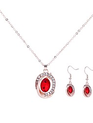cheap -Women's AAA Cubic Zirconia Drop Earrings Pendant Necklace Bridal Jewelry Sets Hollow Out Ladies Simple Trendy Fashion Rhinestone Earrings Jewelry Dark Blue / Purple / Red For Evening Party Festival 1