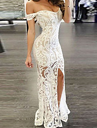 cheap -Women's Asymmetrical Bodycon Dress - Sleeveless Solid Color Paisley Lace Split Off Shoulder Sexy Cocktail Party Prom Birthday White S M L XL