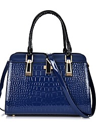 cheap -Women's Bags Patent Leather Zipper Solid Color Handbags Date Outdoor White Black Blue / Fall & Winter