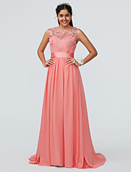 cheap -A-Line Bateau Neck Sweep / Brush Train Chiffon / Lace Bridesmaid Dress with Lace / Sash / Ribbon / Open Back