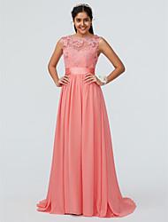 cheap -A-Line Bateau Neck Sweep / Brush Train Chiffon / Lace Bridesmaid Dress with Lace / Sash / Ribbon / Open Back