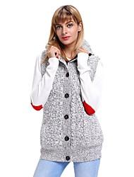 abordables -Femme Quotidien Chic de Rue Couleur Pleine Sans Manches Normal Cardigan, Capuche Automne / Hiver Noir / Gris L / XL / XXL / Taille haute