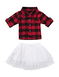 cheap -Toddler Girls' Basic Christmas Daily Black & Red Geometric Christmas Mesh Short Sleeve Regular Regular Cotton Clothing Set Red