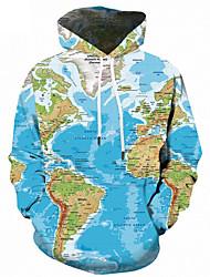 cheap -Men's Plus Size Hoodie Geometric / 3D Print Hooded Active / Street chic Sports - Long Sleeve Loose Light Blue S M L XL XXL XXXL XXXXL XXXXXL XXXXXXL / Fall / Winter