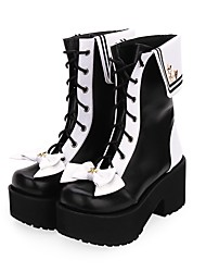 cheap -Women's Lolita Shoes Boots Punk Gothic Wedge Heel Shoes Color Block 8 cm Black PU Leather / Polyurethane Leather Halloween Costumes