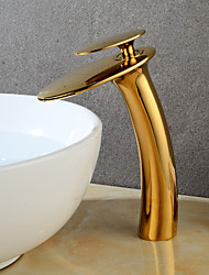 cheap -Bathroom Sink Faucet - Waterfall Gold Centerset Single Handle One HoleBath Taps