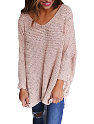 cheap -Women's Daily Basic Solid Colored Long Sleeve Regular Pullover Sweater Jumper, Round Neck Fall / Winter Black / White / Blushing Pink S / M / L