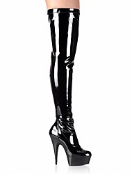 cheap -Women's Boots Sexy Boots Stiletto Heel / Platform Zipper Patent Leather Fashion Boots / Club Shoes Fall / Winter White / Black / Red / Wedding / Party & Evening / Knee High Boots