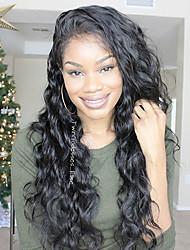 Недорогие -Натуральные волосы 13x6 Тип замка Лента спереди Парик Глубокое разделение стиль Бразильские волосы Естественные кудри Loose Curl Нейтральный Парик 150% Плотность волос / Природные волосы