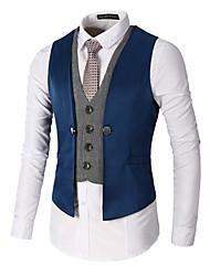 cheap -Men's Work Spring / Fall Regular Vest, Color Block V Neck Sleeveless Polyester Patchwork Black / Red / Khaki