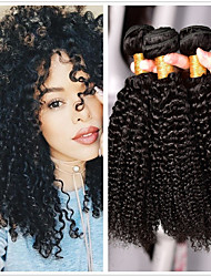 cheap -3 Bundles Brazilian Hair Kinky Curly Human Hair Wig Accessories Natural Color Hair Weaves / Hair Bulk Bundle Hair 8-28 inch Natural Color Human Hair Weaves Smooth Women Extention Human Hair Extensions
