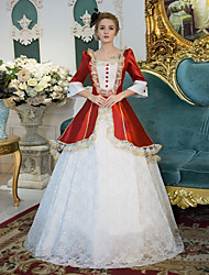 cheap -Princess Victorian Duchess Rococo Baroque Victorian 18th Century Square Neck Dress Outfits Party Costume Masquerade Women's Costume White Vintage Cosplay 3/4 Length Sleeve Floor Length
