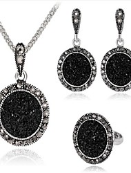cheap -Women's Black Cubic Zirconia Vintage Necklace Retro Ladies Vintage Earrings Jewelry Silver For Party Daily 1 set