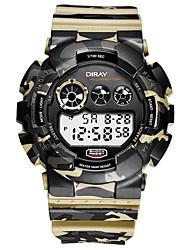 Недорогие -Муж. Спортивные часы электронные часы Японский Цифровой Стеганная ПУ кожа Черный / Синий / Серый 50 m Защита от влаги Календарь Секундомер Цифровой Кольцеобразный Мода - Синий Золотой с черным Хаки