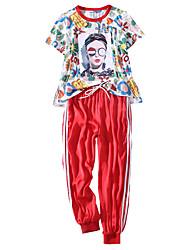 Недорогие -Жен. Широкие Эластичный пояс Спортивный костюм Футболка и брюки для бега Повседневные Длинный рукав Спандекс Дышащий Быстровысыхающий Впитывает пот и влагу / Слабоэластичная / Большие размеры