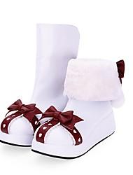 cheap -Women's Lolita Shoes Boots Sweet Lolita Princess Lolita Wedge Heel Shoes Color Block 5 cm White PU Leather / Polyurethane Leather Halloween Costumes