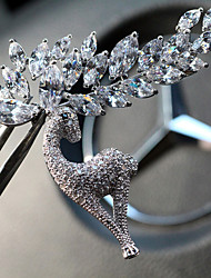 cheap -Women's Crystal Brooches Classic Elk Ladies Unique Design Rhinestone Silver Plated Brooch Jewelry Silver For Daily