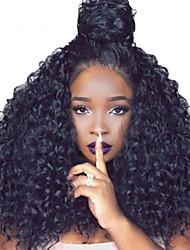 Недорогие -Натуральные волосы 13x6 Тип замка Фронтальная часть Лента спереди Парик Глубокое разделение Боковая часть стиль Бразильские волосы Кудрявый Глубокий курчавый Нейтральный Парик 250% Плотность волос