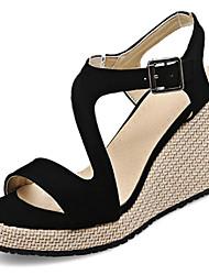 cheap -Women's Sandals Wedge Heel PU Summer Black / Pink / Gray