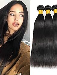 cheap -3 Bundles Brazilian Hair Straight Human Hair Unprocessed Human Hair Headpiece Natural Color Hair Weaves / Hair Bulk Hair Care 8-28 inch Natural Color Human Hair Weaves Easy dressing Wedding 100 / 8A