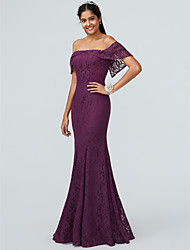 cheap -Mermaid / Trumpet Off Shoulder Floor Length Lace Bridesmaid Dress with Ruffles