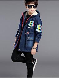 abordables -Enfants Garçon Basique Quotidien Couleur Pleine Manches Longues Normal Coton Trench Bleu Marine