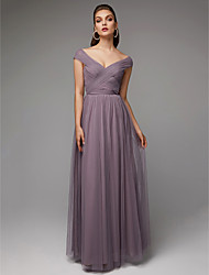 cheap -A-Line V Neck Floor Length Chiffon / Tulle Elegant & Luxurious / Elegant Formal Evening / Black Tie Gala Dress with Criss Cross / Pleats 2020