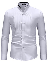 cheap -Men's Daily Weekend Basic Cotton Shirt - Color Block Standing Collar White / Long Sleeve