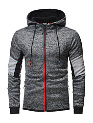 cheap -Men's Active Long Sleeve Slim Hoodie - Solid Colored Hooded Dark Gray XL